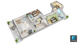 axonométrie 3d appartement - plan 3d architecture