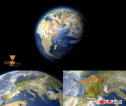 Habillage Vidéo 3D et zoom sur la terre