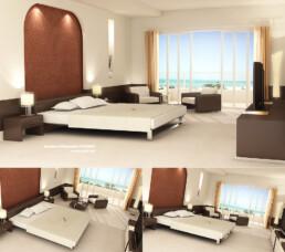 Projet Hotelier - Illustration d'une chambre en 3D à Dubai | infographiste 3d architecture