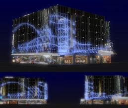 Test d'habillage de la façade du bâtiment Publicis pour Noel 2008 | Publicis Event