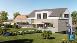 1 perspective 3d de 2 villas mitoyennes en Belgique - perspective extérieur de maison - freelance 3D