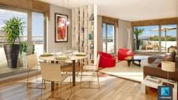 image 3d séjour terrasse - infographiste architecture