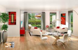 Living room en 3D   images de synthese architecture
