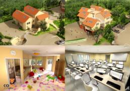 Concours d'urbanisme | Construction d'une école maternelle | architecte infographiste