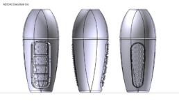 Modélisation CAO des différents designs du nouveau Déostick ADIDAS
