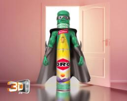 oro super héro animation 3d - publicité 3D