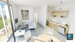 perspective 3d appartement - sejour - freelance immobilier
