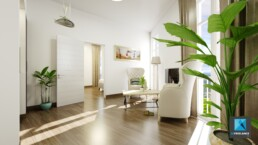 perspective 3d architecture séjour - maison de retraite - EHPAD