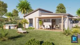perspective 3d extérieur villa la Réunion - infographiste 3D architecture