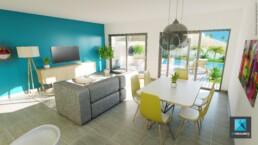 perspective 3d intérieure séjour villa freelance Nouméa