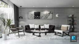 perspective 3d sejour salon - designer intérieur freelance