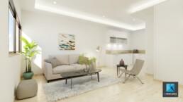 Infographiste 3D home staging - perspective 3d séjour - salon - salle à manger