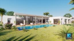 perspective 3d villa de luxe - infographiste 3d architecture freelance Rhône-Alpes