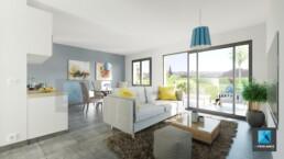 perspective 3d villa séjour - région-paca - cote d'azur - freelance architecture