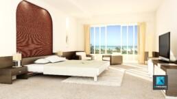 image 3d chambre d'hôtel