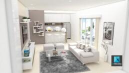 perspectivisme 3d - appartement - séjour - résidence orgue