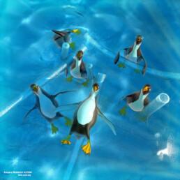pinguins en infographie 3d - freelance