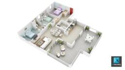 plan de vente 3d - appartement t4 Guadeloupe - infographiste architecture