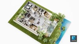 plan de vente - axonometrie plan 3D d'une villa