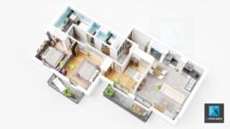 plan meublé 3d appartement