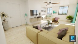 rendu 3d séjour - appartement Guyane