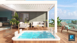 rendu 3d terrasse - perspective image 3d terrasse Guadeloupe