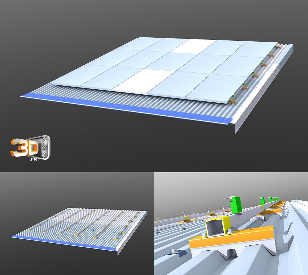 Modélisation 3D d'une toiture photovoltaïque   Client: 3I Plus