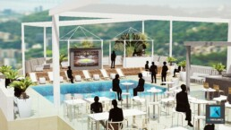 perspective d'ambiance événementielle - RIO2016 - réception cocktail dinatoire