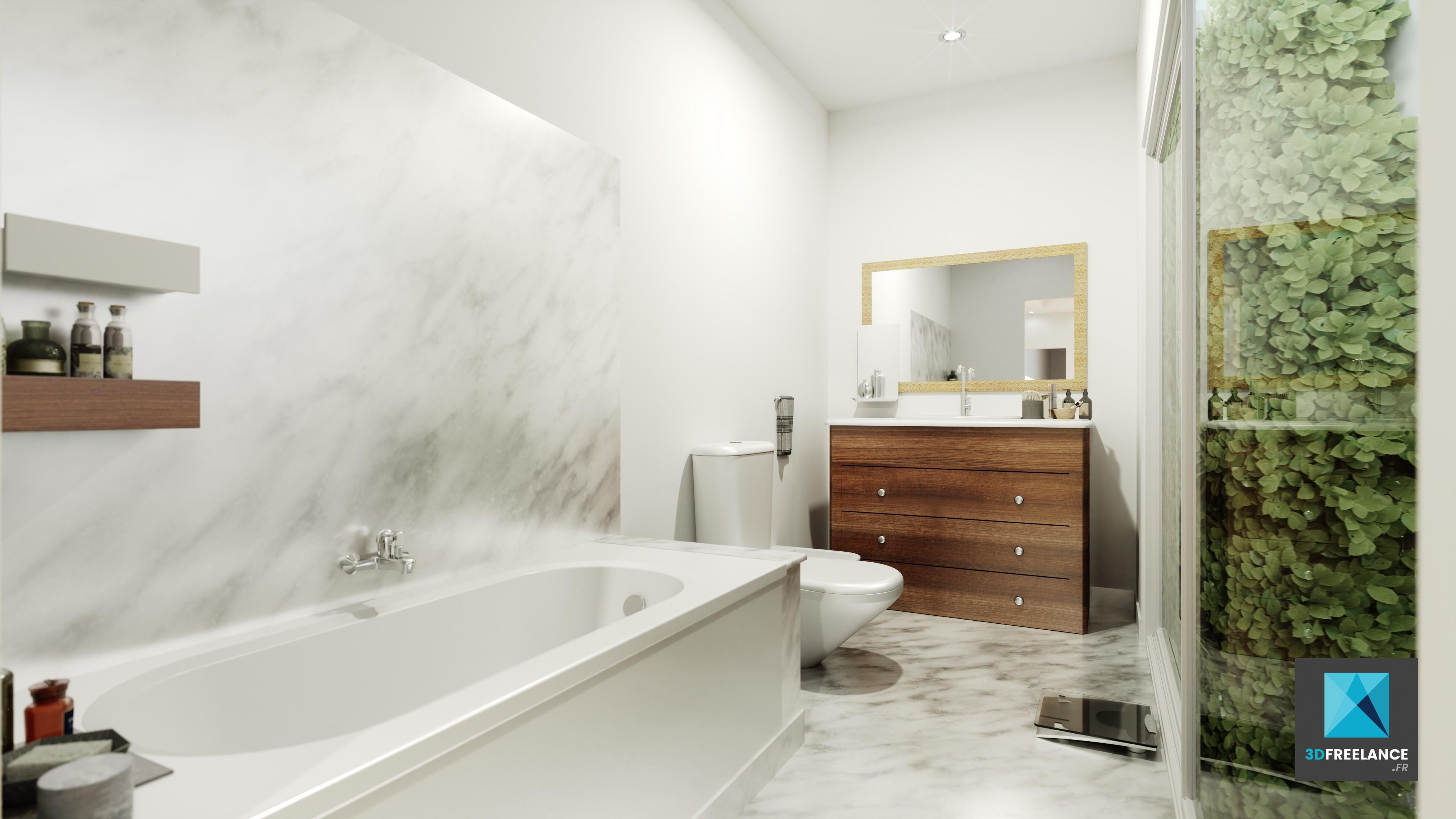 Perspective 3D espace intérieur   Infographiste immobilier FREELANCE
