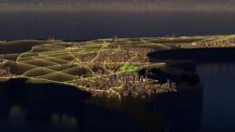 animation 3d survol d'une ville