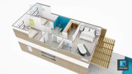 axonométrie 3d villa - nouvelle Calédonie