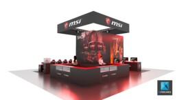 création de stands sur mesure - stand jeux vidéo MSI