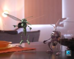 illustration 3d insectes - cafard moustique