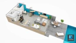 plan 3D villa - Nouméa Nouvelle-Calédonie - freelance axonométrie