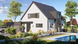 dessin 3d maison Alsace