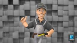 personnage 3D ouvrier - illustration