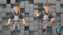 personnage 3d ouvrier - modélisation 3d