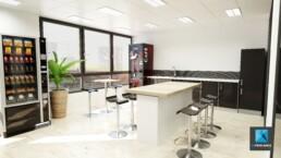 rénovation cafeteria entreprise - design d'intérieur