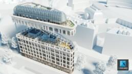 animation 3d architecture bureaux - le quatre