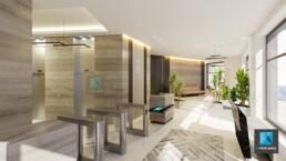 film 3d immobilier bureau - le quatre Puteaux - perspective 3d hall d'accueil