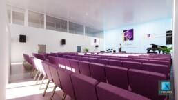 rough 3d d'une salle de concert - perspectiviste freelance
