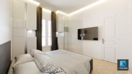 image 3d rénovation appartement - chambre 2