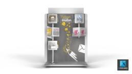 PLV meuble présentoir la poste - image 3D