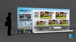 meuble linéaire produits - image 3d rendu - Samsung