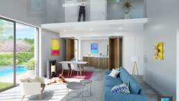 dessin 3d séjour salon villa