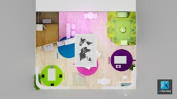 dessin 3d stand moderne - fillon technologies