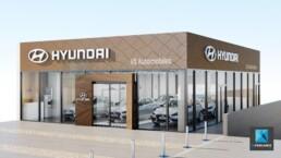perspective 3d concessionnaire automobile showroom Hyundai