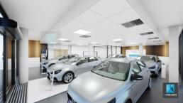 rendu 3d concession automobile showroom Hyundai