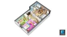 axonométrie 3d - plan de vente - maison Normandie - graphiste 3d freelance