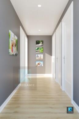 image 3d perspective rendu couloir avec des tableaux